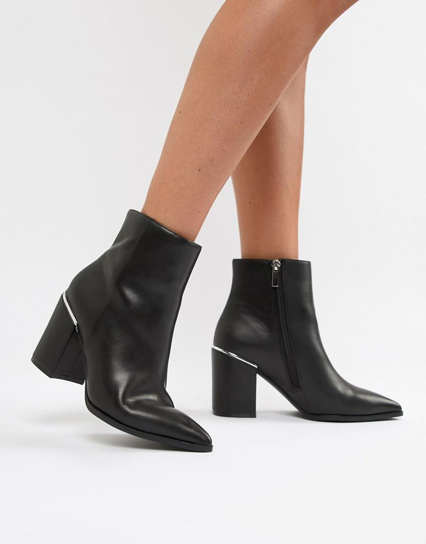3a19c069ab3 Lyst - ASOS Ebele Pointed Ankle Boots in Black