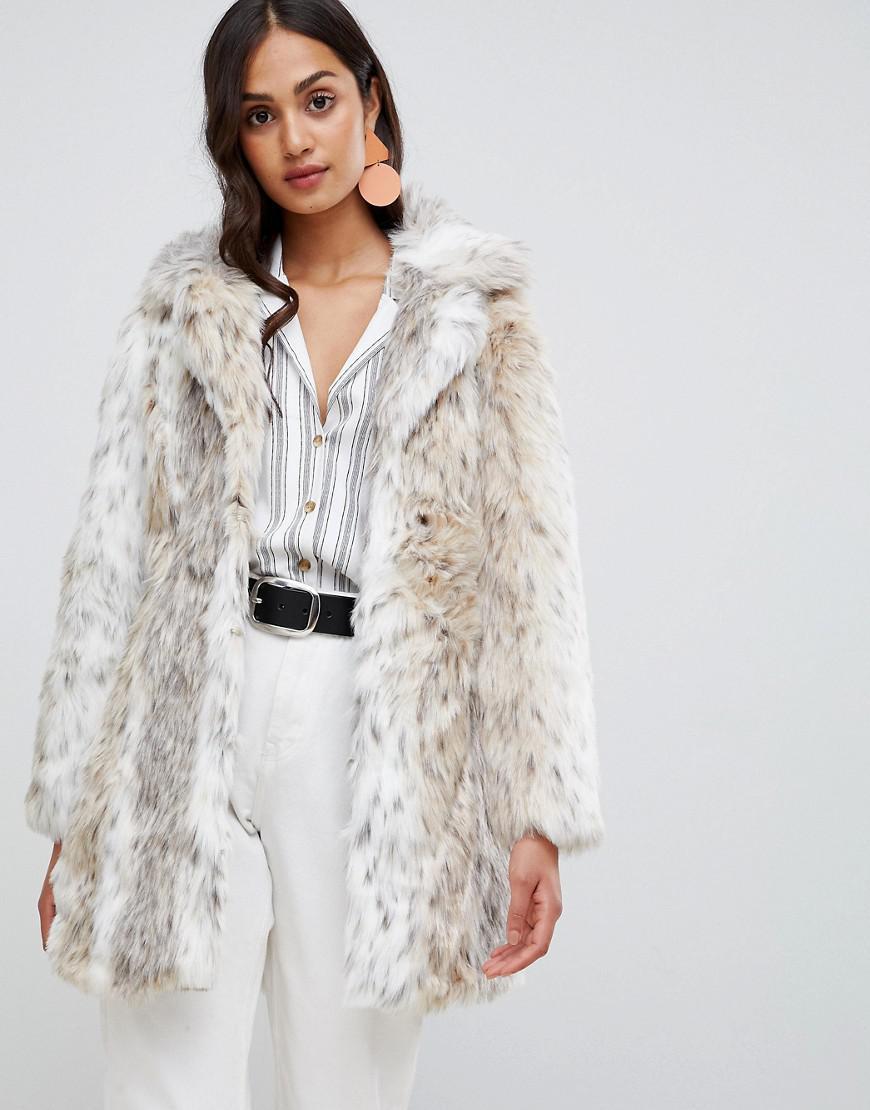 ef11c76be96 New Look Faux Fur Snow Leopard Coat in White - Lyst