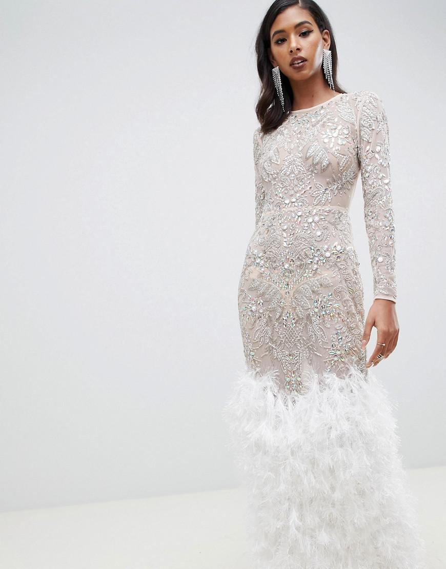 fd06c5ce9bd ASOS Embellished Sequin Maxi Dress With Faux Feather Trim in Natural ...
