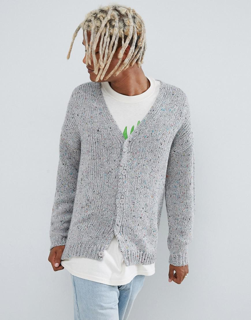 b81d1777c2d ASOS Heavyweight Cardigan In Gray Speckled Yarn in Natural for Men ...