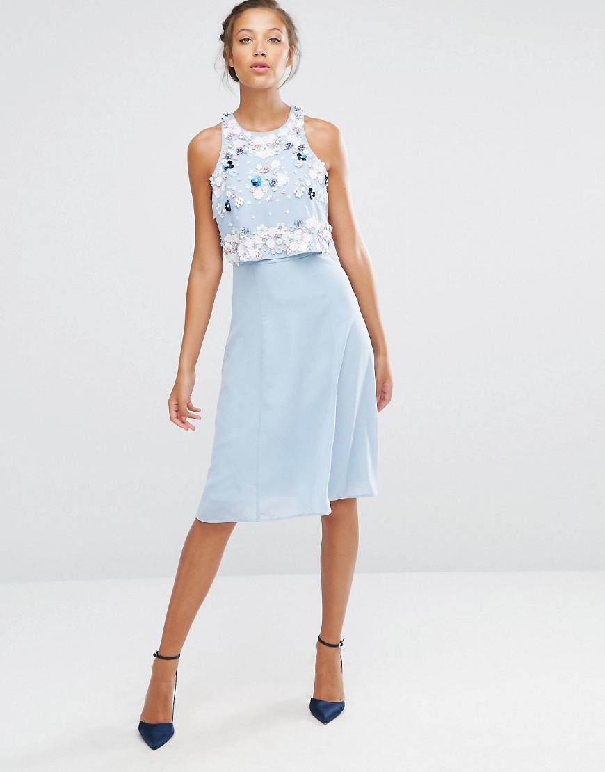 51139c9d9ad9 Lyst - ASOS Multi Cluster 3d Floral Crop Top Midi Dress in Blue