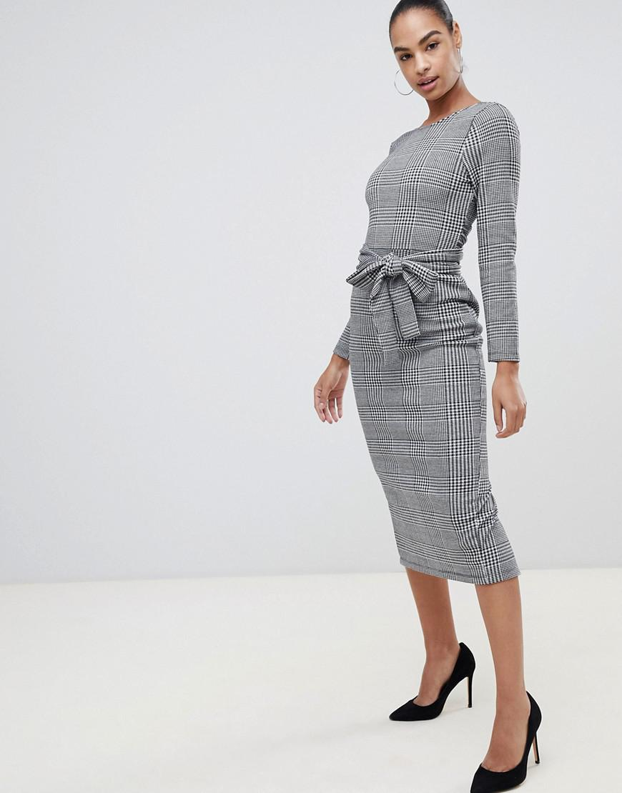 831f4a694338 ASOS Check Midi Dress With Self Wrap Belt in Gray - Lyst