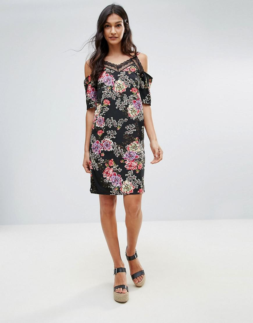 Floral Cold Shoulder Dress With Lace Neckline - Black floral Daisy Street 1yKi0kHX