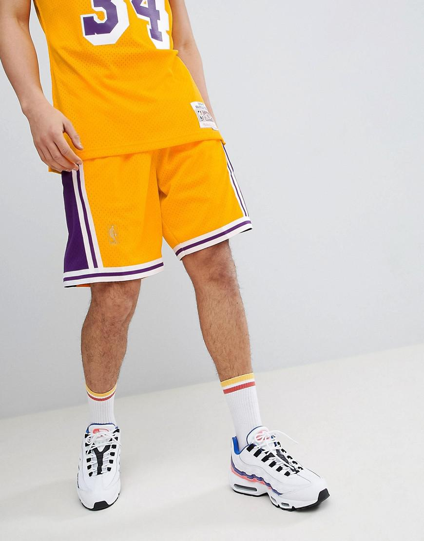 b9897773abd1 Mitchell   Ness Nba Lakers Swingman Shorts In Yellow in Yellow for ...
