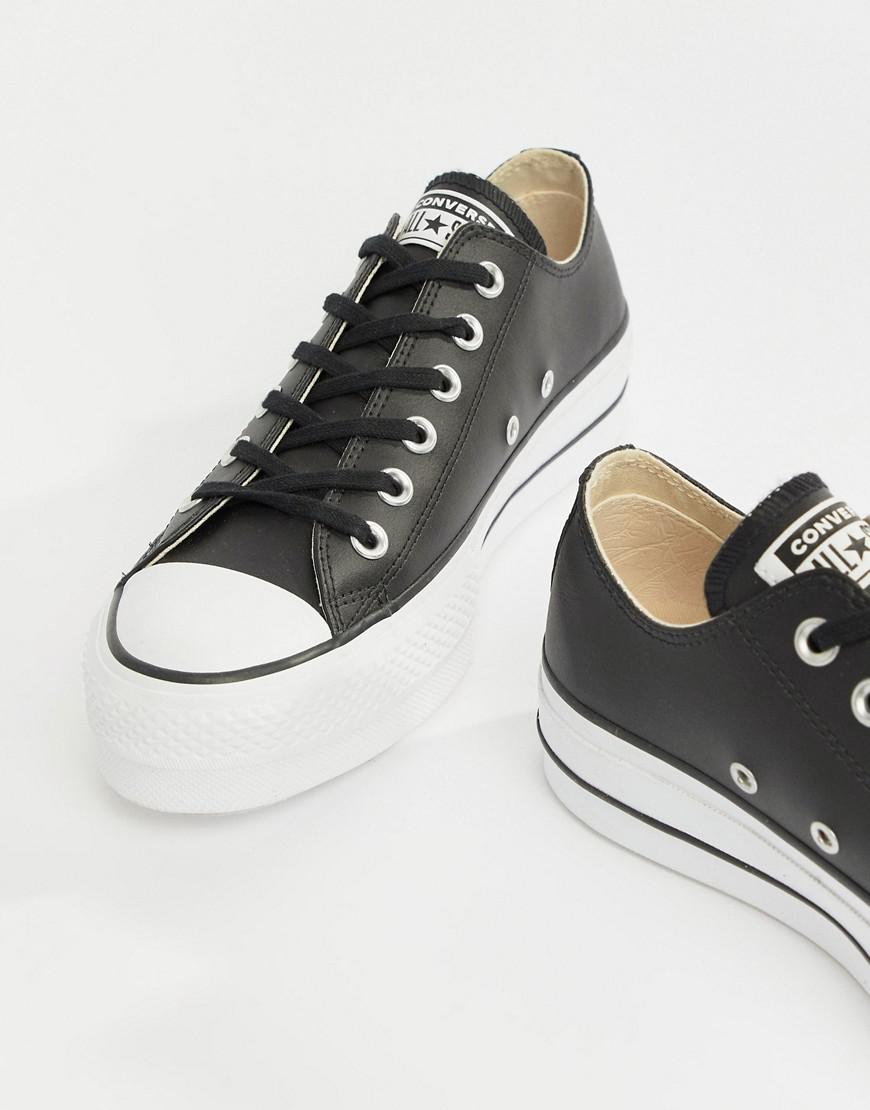 ff9fc77956a3 Converse. Women s Chuck Taylor All Star Leather Platform Low Trainers In  Black