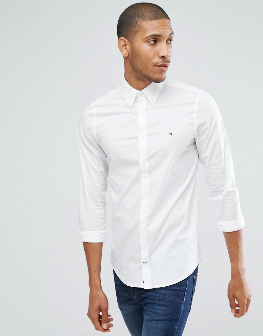 52722ad2268f9e Lyst - Tommy Hilfiger Oxford Shirt With Stretch In Slim Fit In White ...