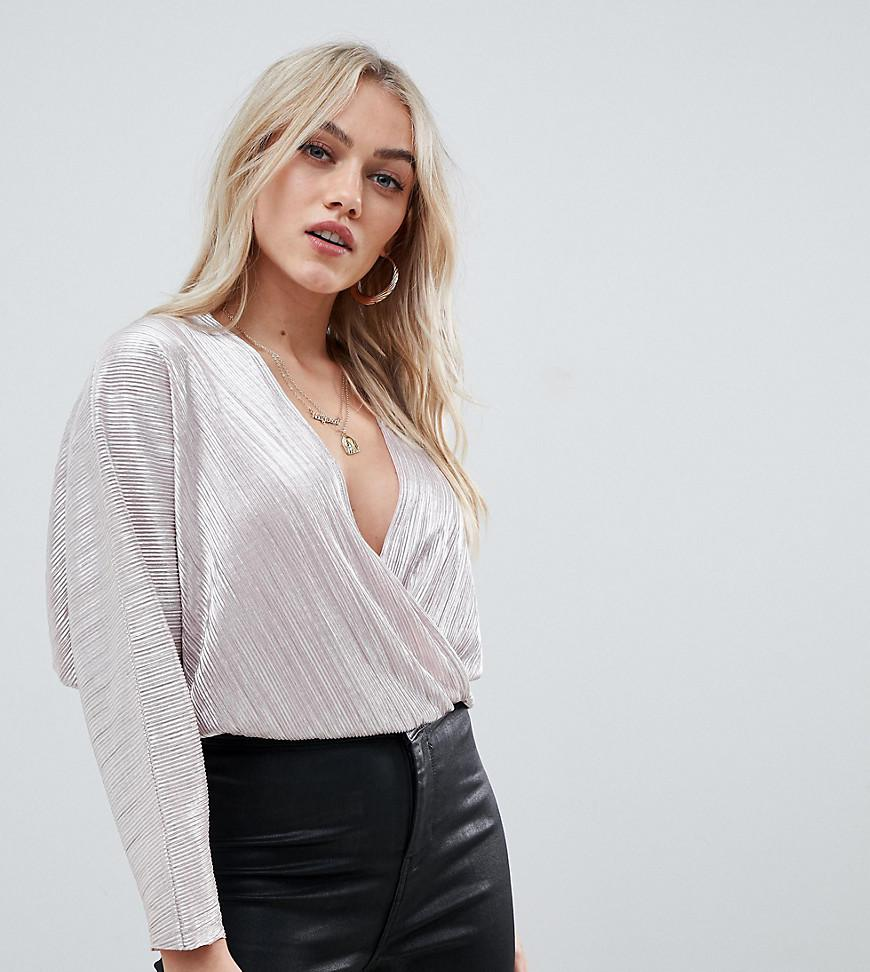45b6539160572 ASOS. Women's Pink Asos Design Petite Wrap Top In Metallic Plisse With Batwing  Sleeve