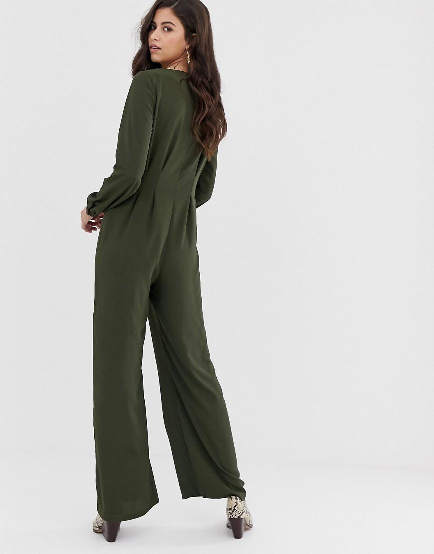 b154c18be4f Lyst - Vila Button Through Wideleg Jumpsuit in Green