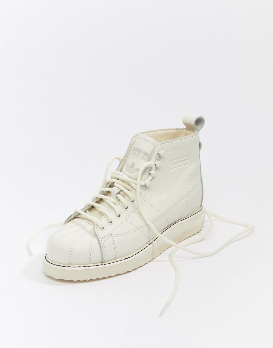Lyst Adidas Originals Superstar Boot Trainers In Triple White In White