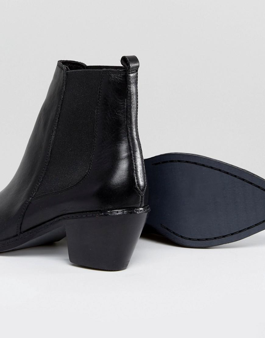 d7e3cced4cca Lyst - H by Hudson H By Hudson Stud Toe Leather Boot in Black