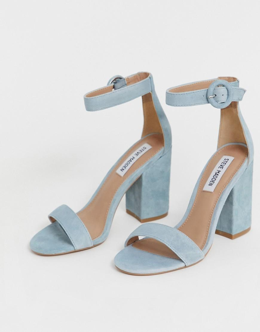 710749412a2 Lyst - Steve Madden Suede Block Heel Sandals in Blue