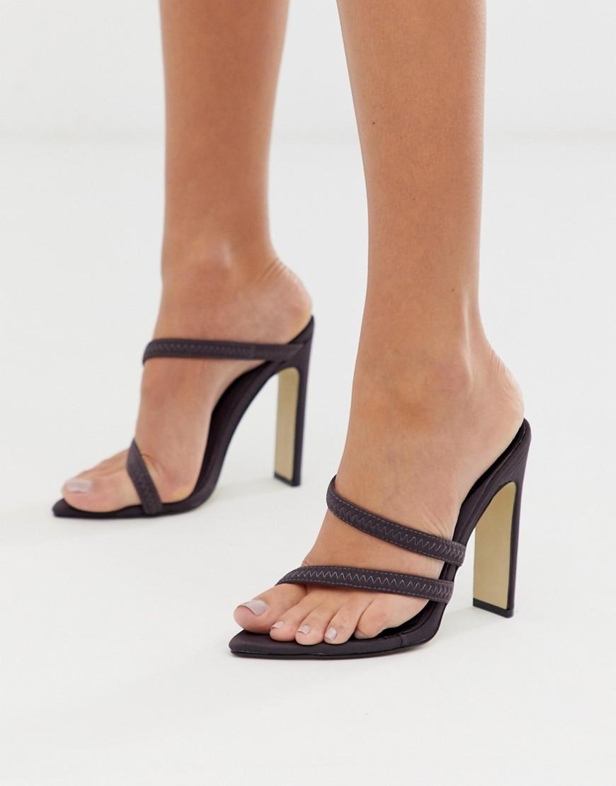 9e7767e086a9 Missguided Pointed Heeled Sandals In Dark Grey in Orange - Lyst