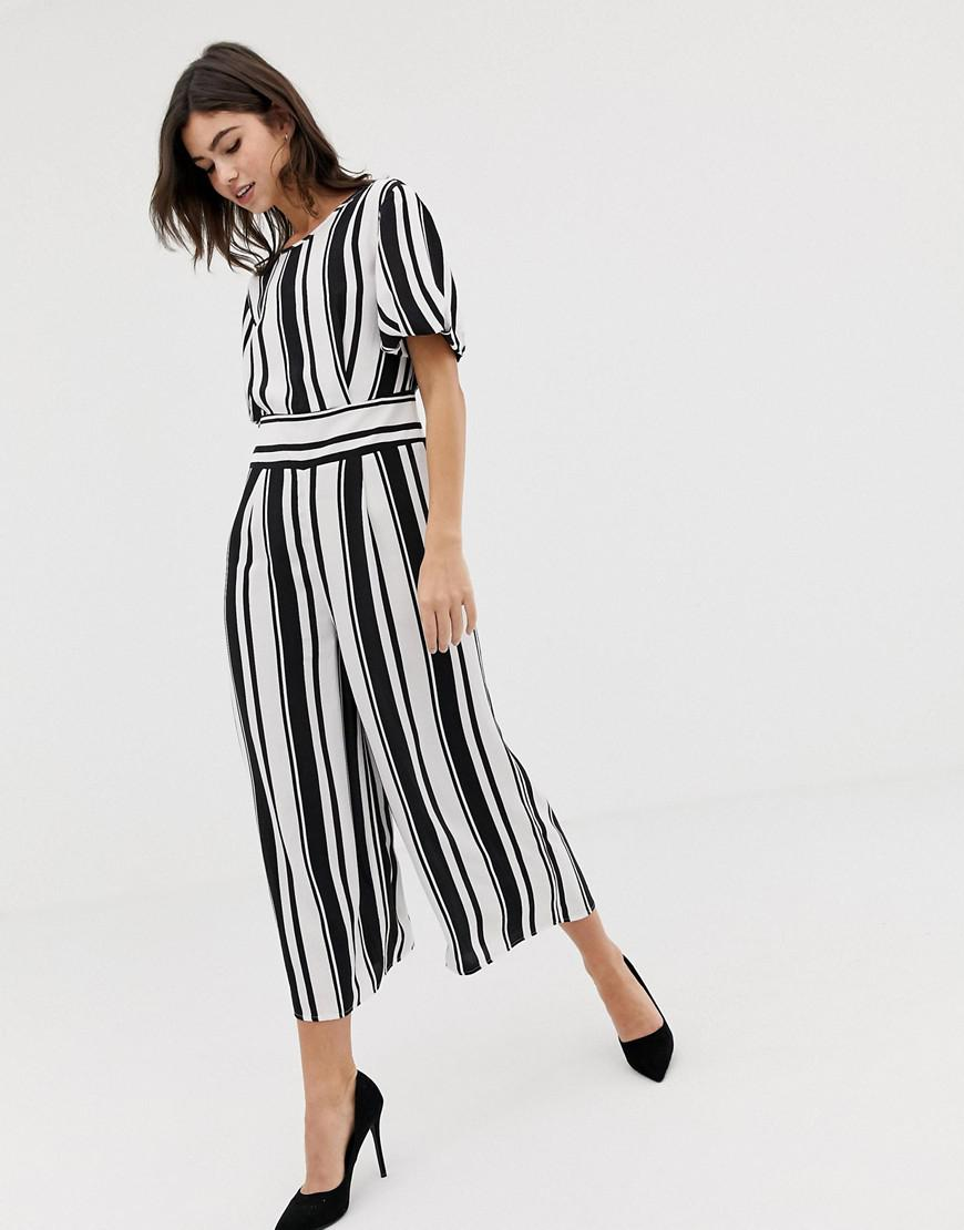 5abb1244bab Lyst - ASOS Tea Jumpsuit With Balloon Sleeve In Stripe in Black