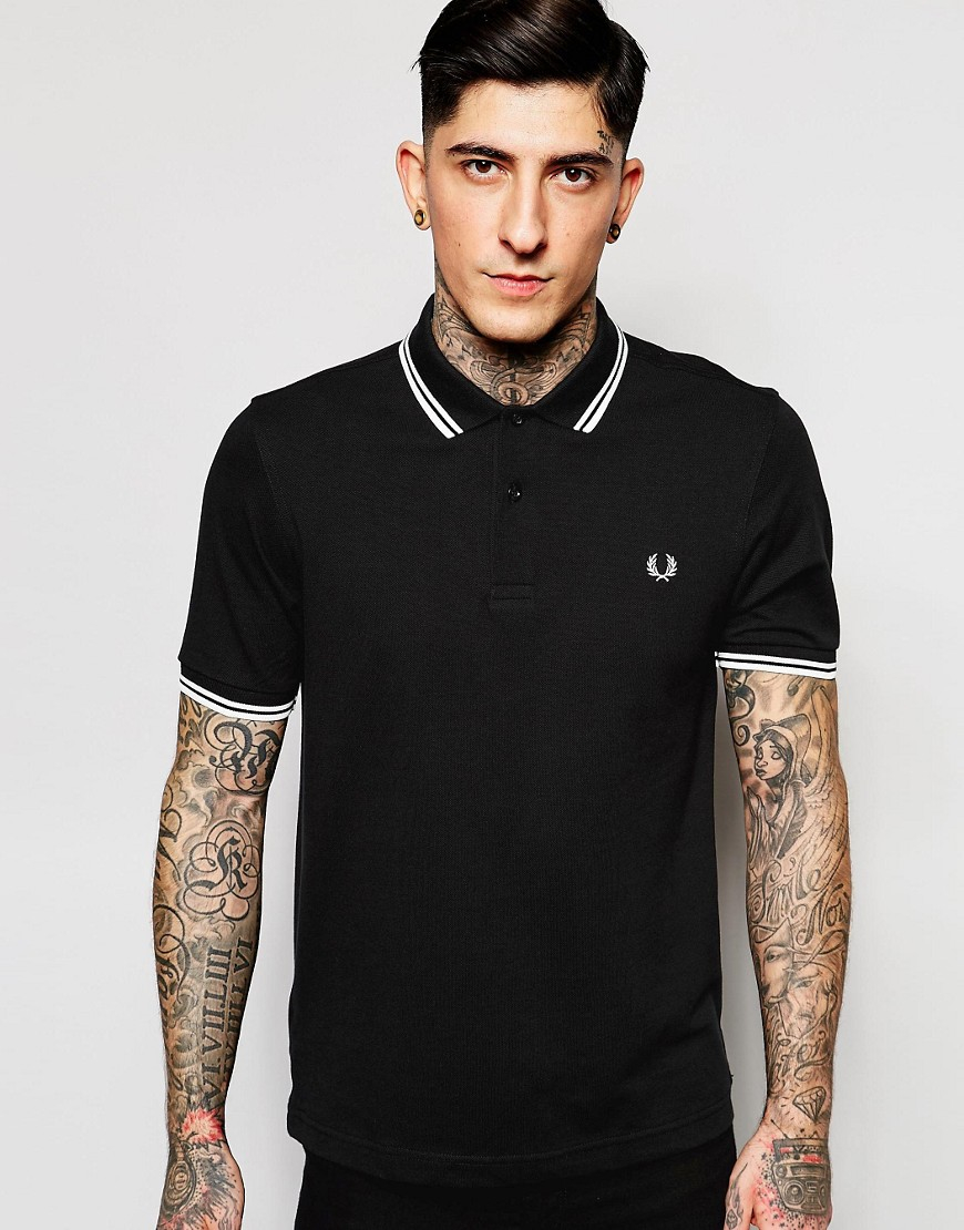 Fred perry Slim Fit Polo With Twin Tipped In Black in ...
