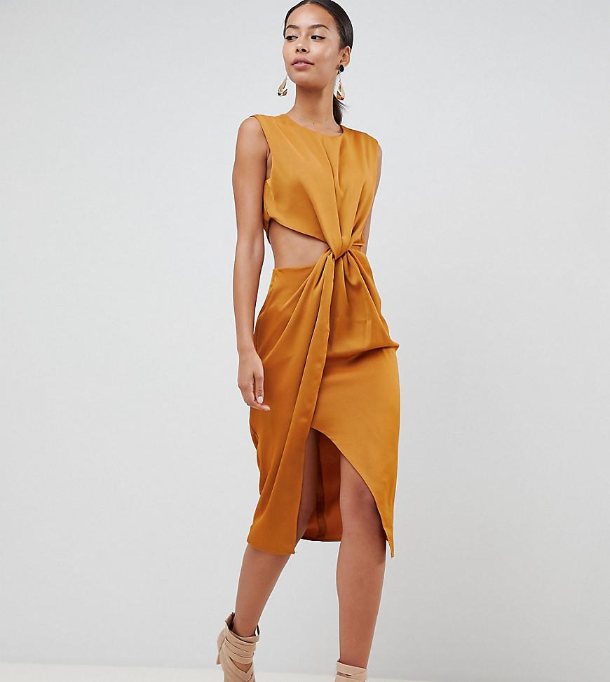d4d04b2d5c0 ASOS. Women s Metallic Asos Design Tall Twist Front Sexy Satin Pencil Dress  ...