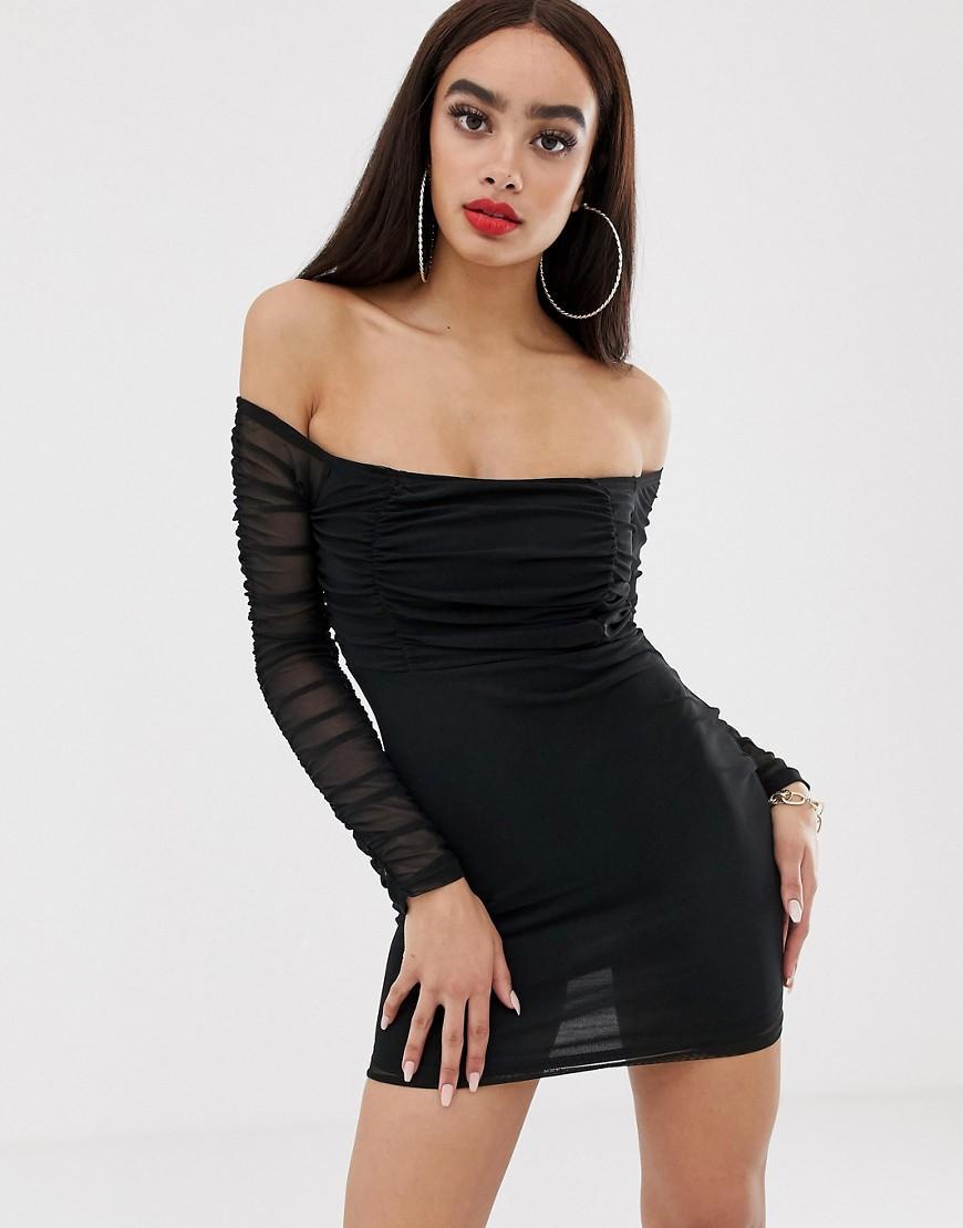 f374adaae19b PRETTYLITTLETHING - Bardot Bodycon Dress With Ruched Mesh In Black - Lyst.  View fullscreen