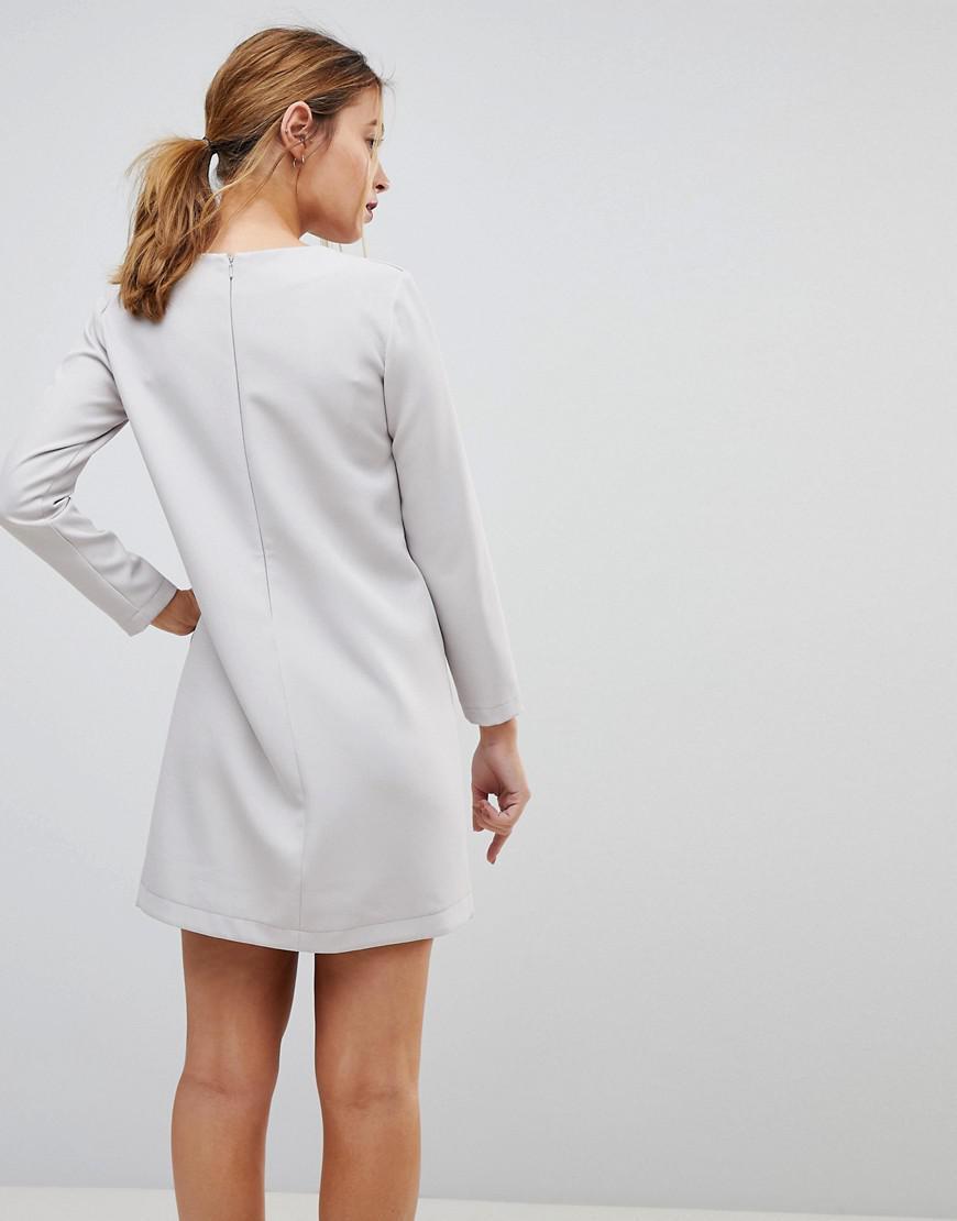 575e404eda5e8 ASOS Asymmetric Clean Shift Mini Dress in Gray - Lyst