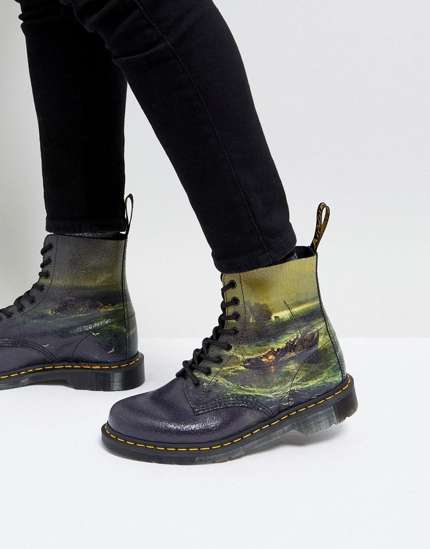 Dr Martens William Turner Fisherman 8 Eye Boots In Black
