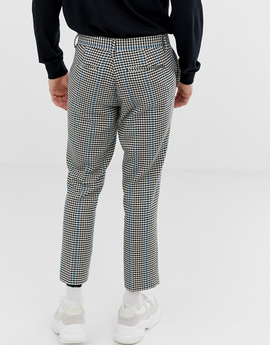 7b985c227c05 Lyst - ASOS Slim Crop Smart Pants In Gray Micro Check With Blue Stripe in  Gray for Men