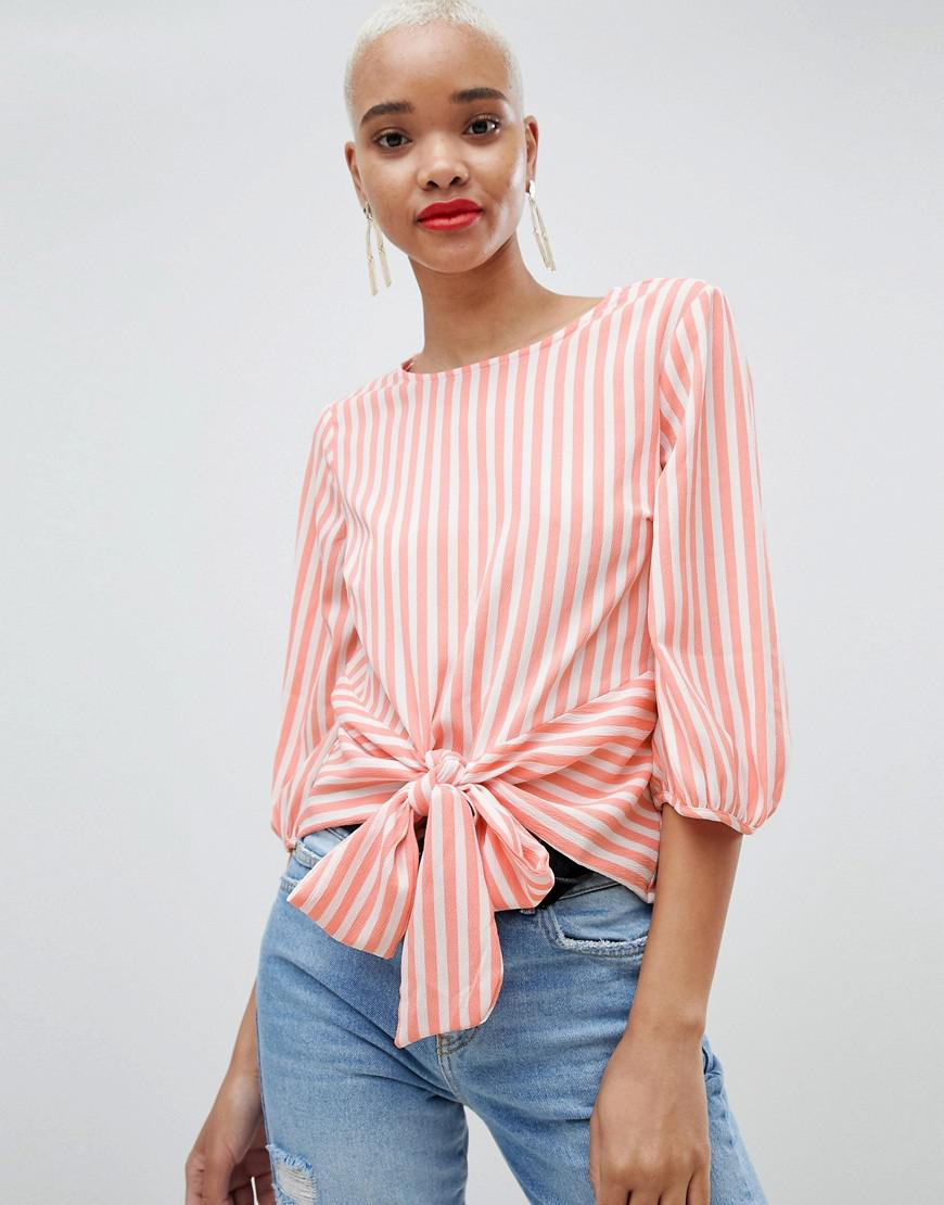82935ba59c256 Pieces Stripe Tie Front Blouse in Pink - Lyst