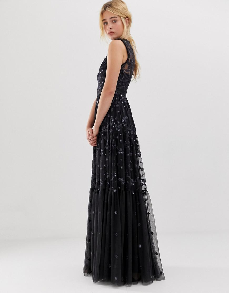 1d3b703a4b3 Needle   Thread. Women s Black Embroidered Lace Maxi Gown With High Neck In  Graphite