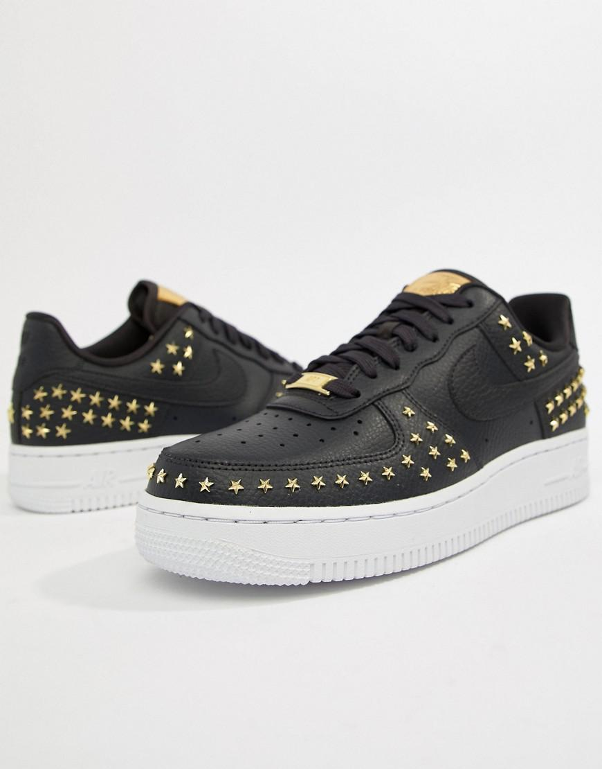 a971faec24 Nike Black Studded Air Force 1 Trainers in Black - Lyst
