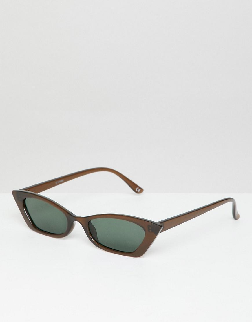 179f07e4ef21 Lyst - ASOS Design Squared Off Narrow Cat Eye Sunglasses