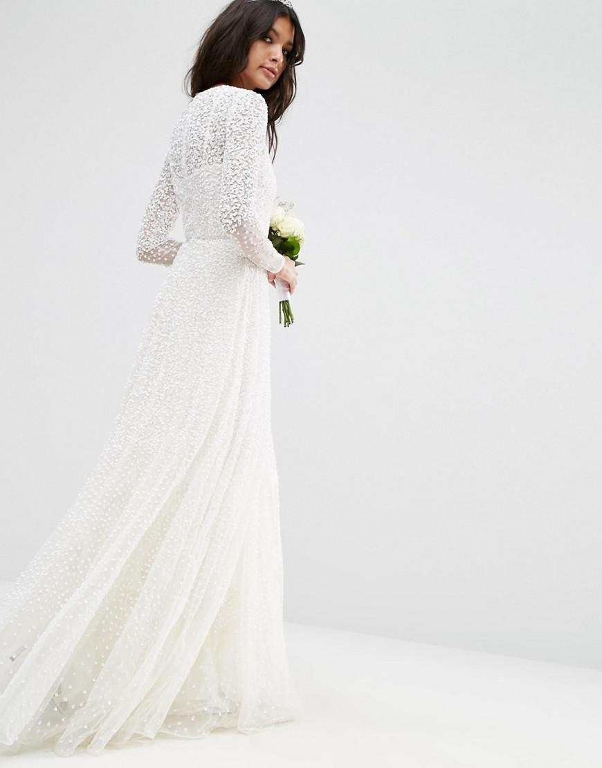 3cea172027c6 ASOS Bridal Embellished Long Sleeve Maxi Dress in White - Lyst