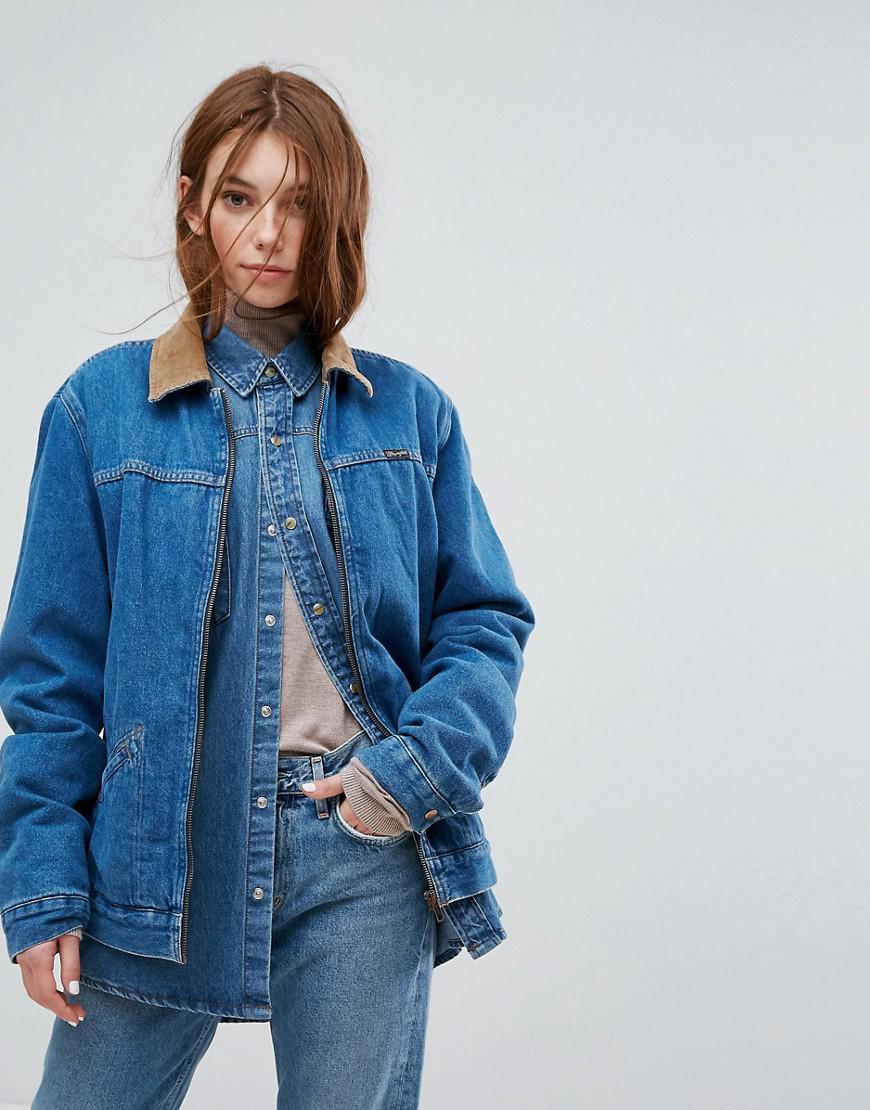 Lyst wrangler stranger things denim jacket with cord for Wrangler denim shirts uk