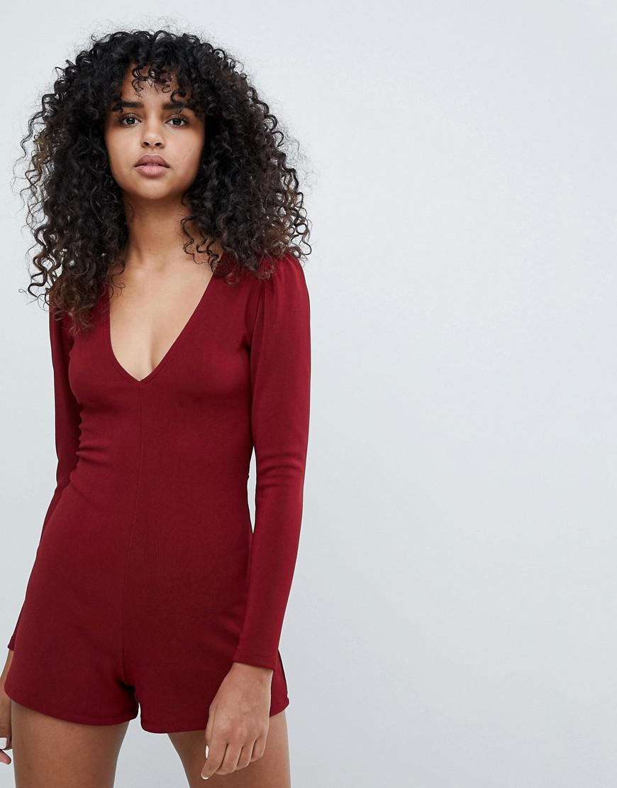 5a9855dda24 Lyst - Pull Bear Long Sleeve Playsuit in Red
