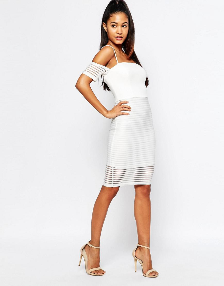 337399d99a5 Lipsy Ariana Grande For Off Shoulder Mesh Pencil Dress in White - Lyst