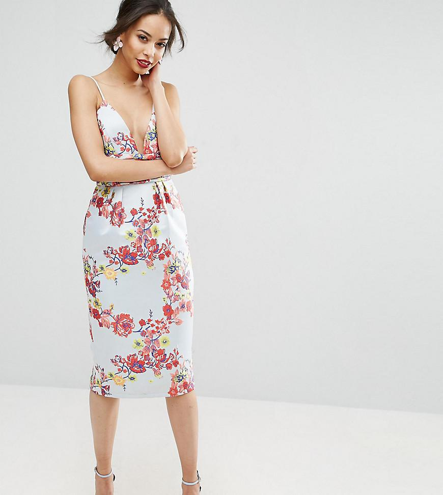 818ab2c349f0 ASOS Salon Midi Pencil Dress With Embroidery And Ruched Waist Detail ...