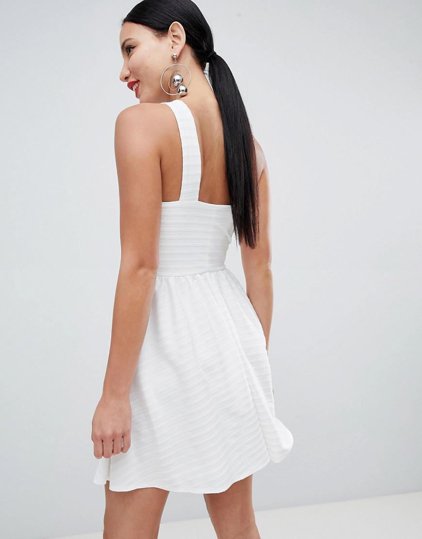 2821b0ef054 ASOS Cross Neck Bandage Mini Skater Dress in White - Lyst