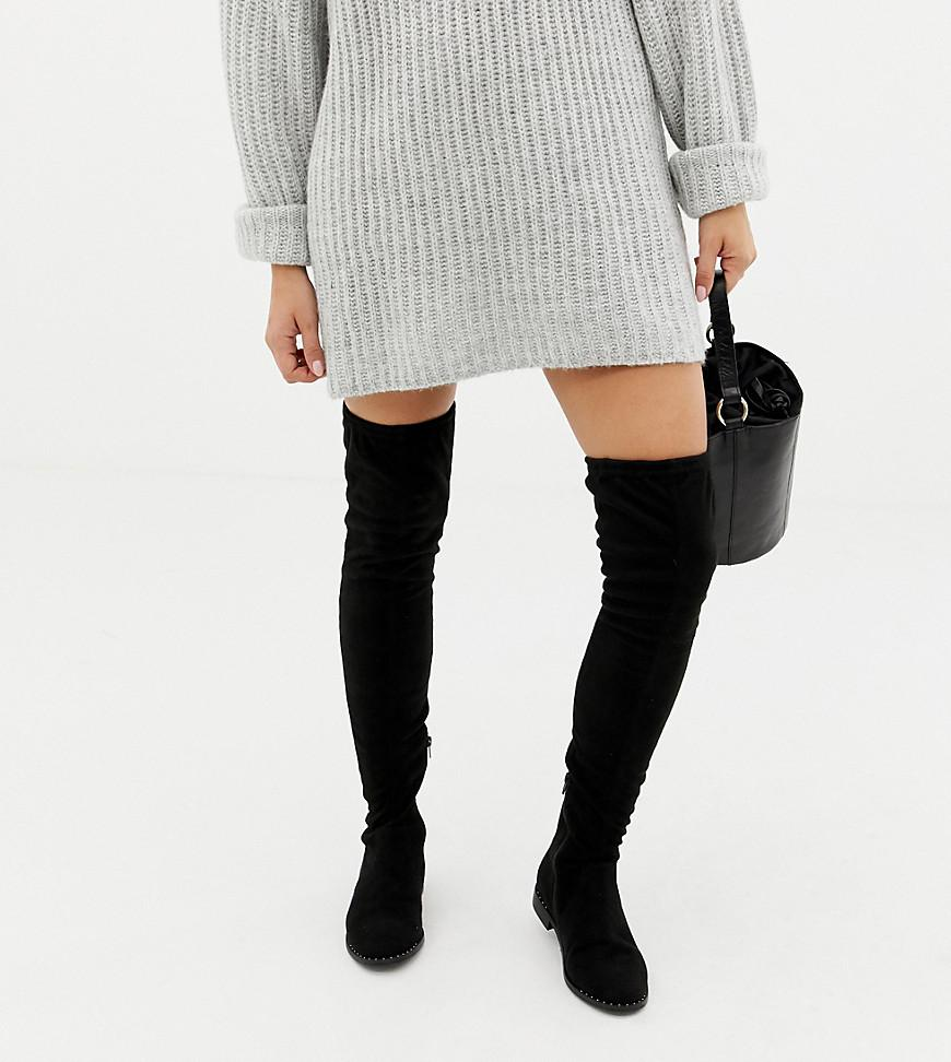 ed87e49863bf ASOS. Women s Black Asos Design Wide Fit Tall Kaska Flat Studded Over The Knee  Boots