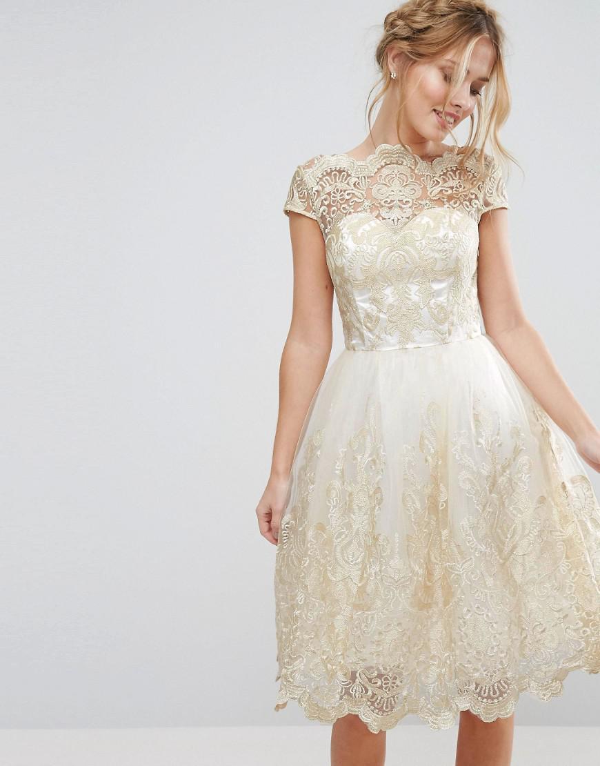 b81f33b42a Lyst - Chi Chi London Premium Metallic Lace Midi Prom Dress With ...