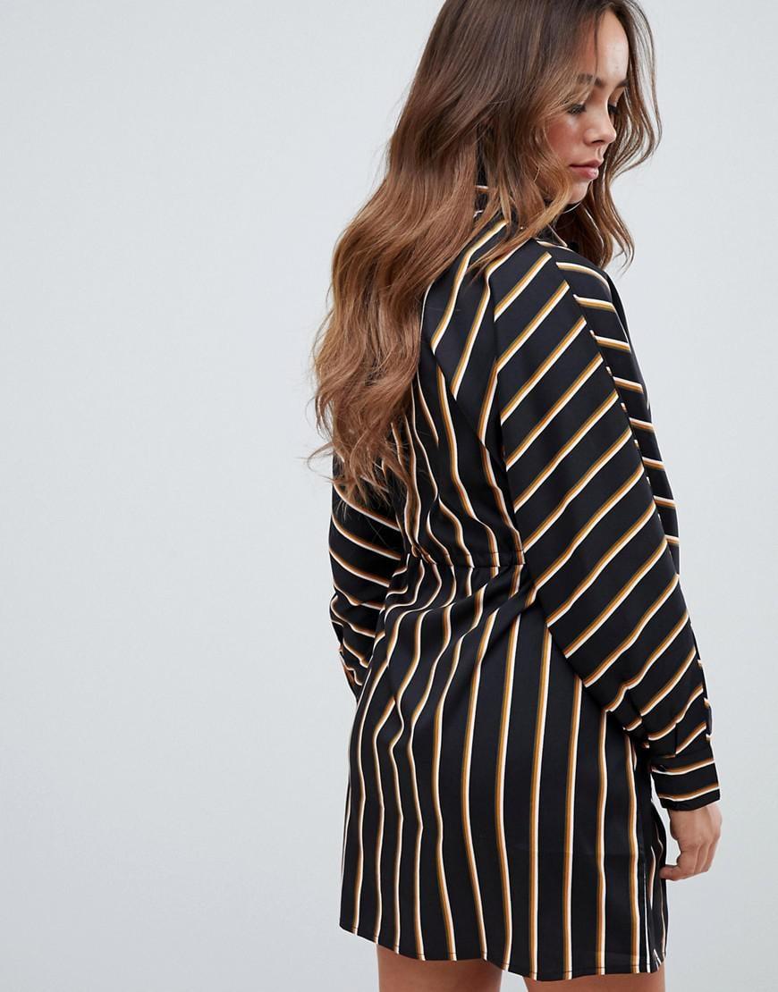 18d00b59fe Lyst - Boohoo Tie Waist Shirt Dress In Black Stripe in Black