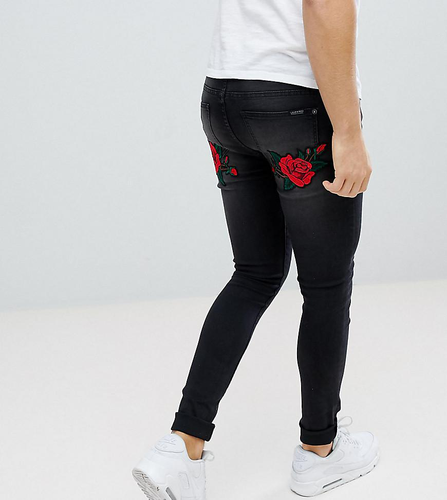 Black Wash Rose And Swallow Embroidered Skinny Jeans - Black Liquor & Poker CylOgdznRt