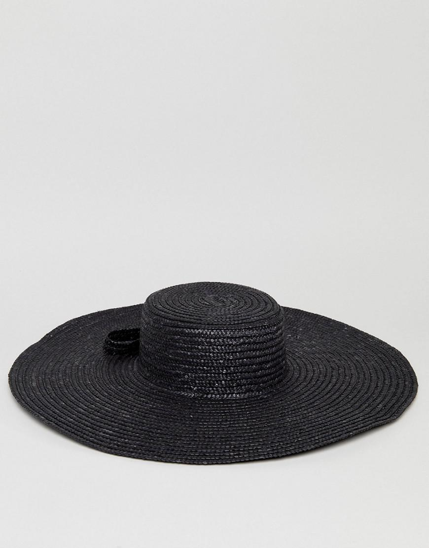 42cf1aa68da ASOS Asos Natural Straw Oversized Floppy Hat With Bow And Size Adjuster in  Black - Lyst