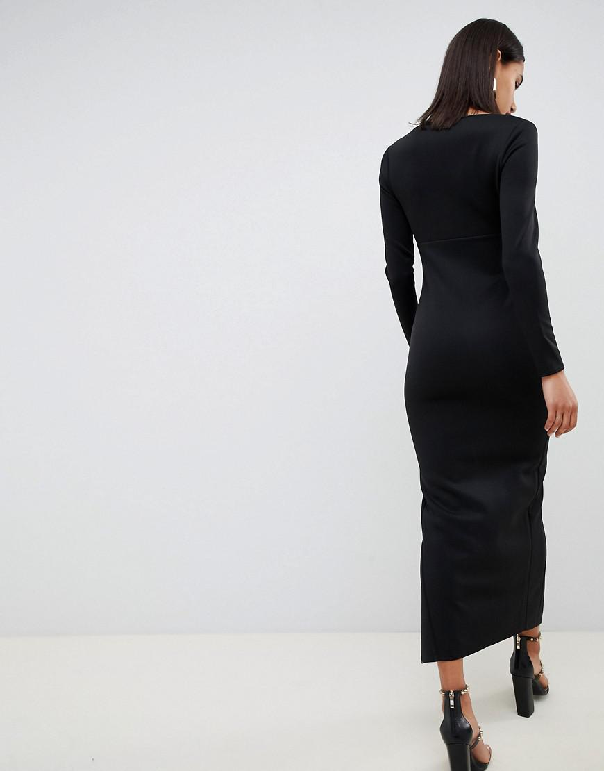 2998e9c5a9 ASOS Long Sleeve Scoop Neck Maxi Dress With Thigh Split in Black - Lyst