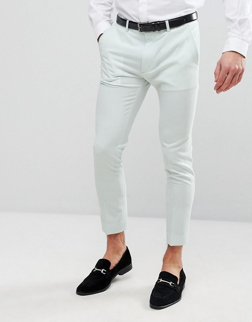 WEDDING Skinny Crop Smart Trousers In Sage Green Cotton Sateen - Green Asos DqFnUb45g