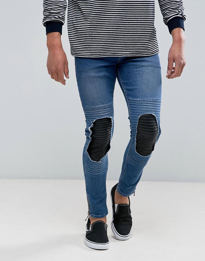 Mens Glover Light Wash Repair Skinny Jeans New Look CC5Ac6JIKK