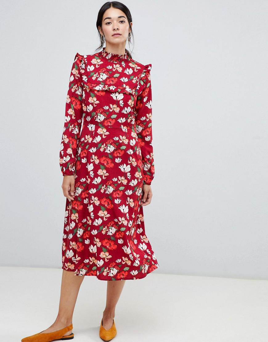b01a7bb846 Vila Floral Frill Midi Dress in Red - Lyst