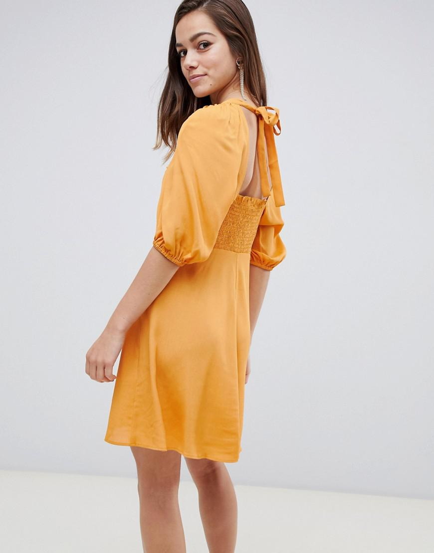 785d216c256e Lyst - Asos Asos Design Petite Shirred Bustier Mini Skater Dress With Puff  Sleeve in Yellow