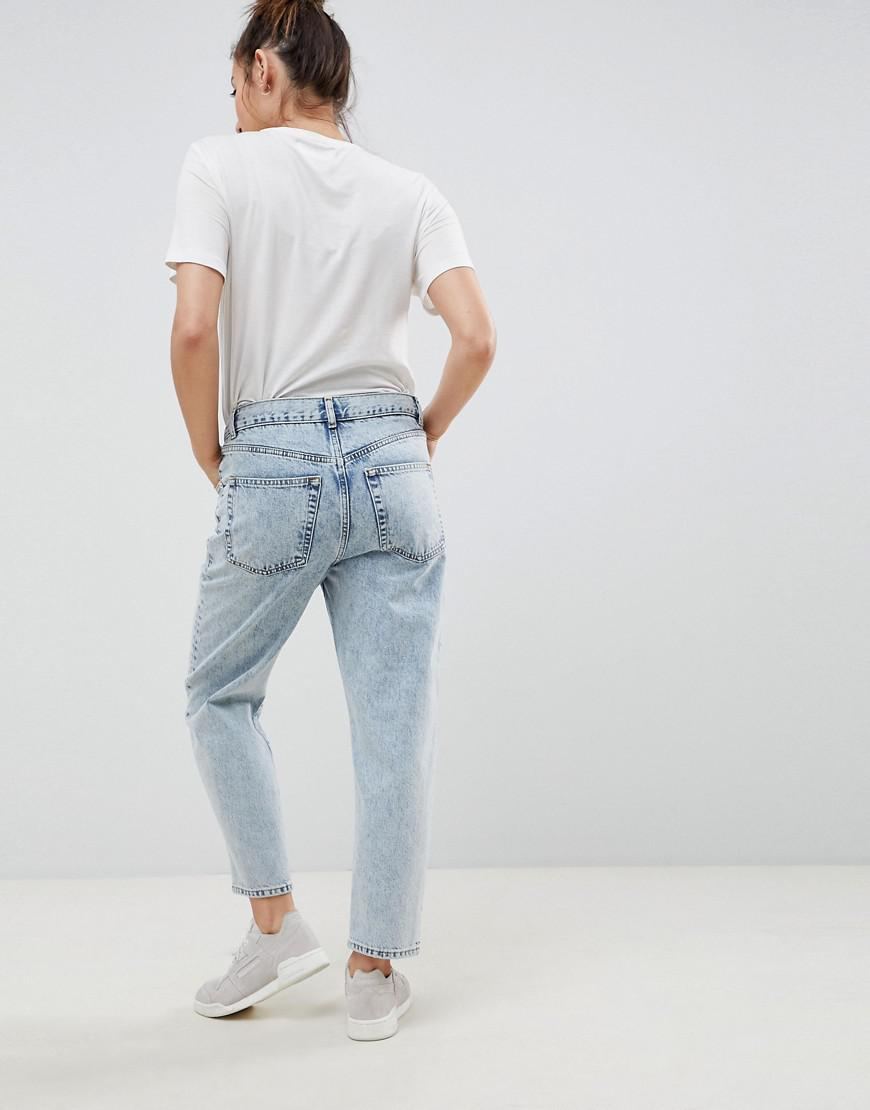 35c0e7f5d5c Lyst - ASOS Asos Design Maternity Barrel Leg Boyfriend Jeans In Bella Light  Wash With Over The Bump Waistband in Blue