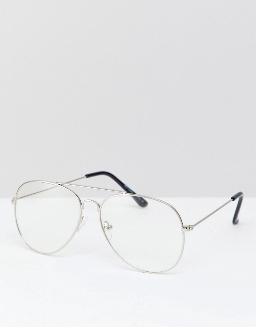 077c067d94802 Reclaimed (vintage). Men s Metallic Inspired Aviator Clear Lens Glasses In  Gold Exclusive To Asos