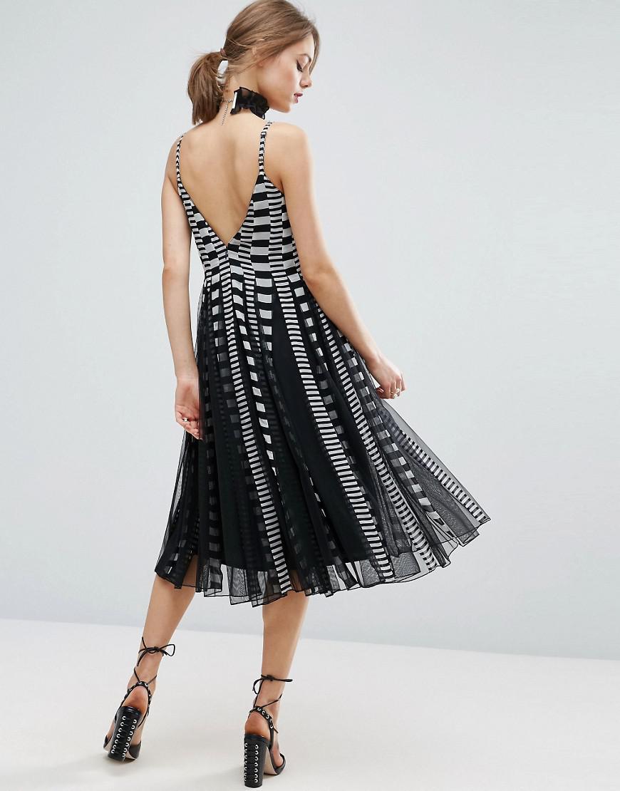 Lyst Asos Asos Cami Stripe Mesh Fit And Flare Midi Dress