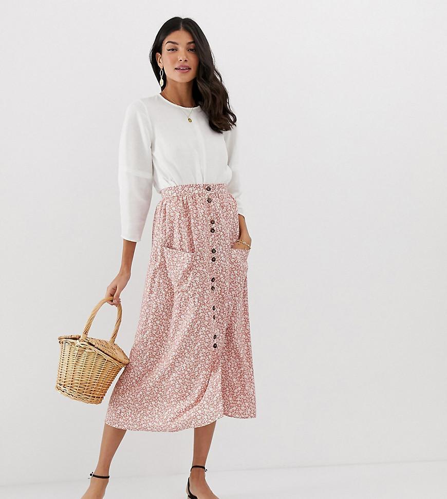 33384cebee ASOS. Women's Pink Asos Design Tall Button Front Midi Skirt With Pockets ...