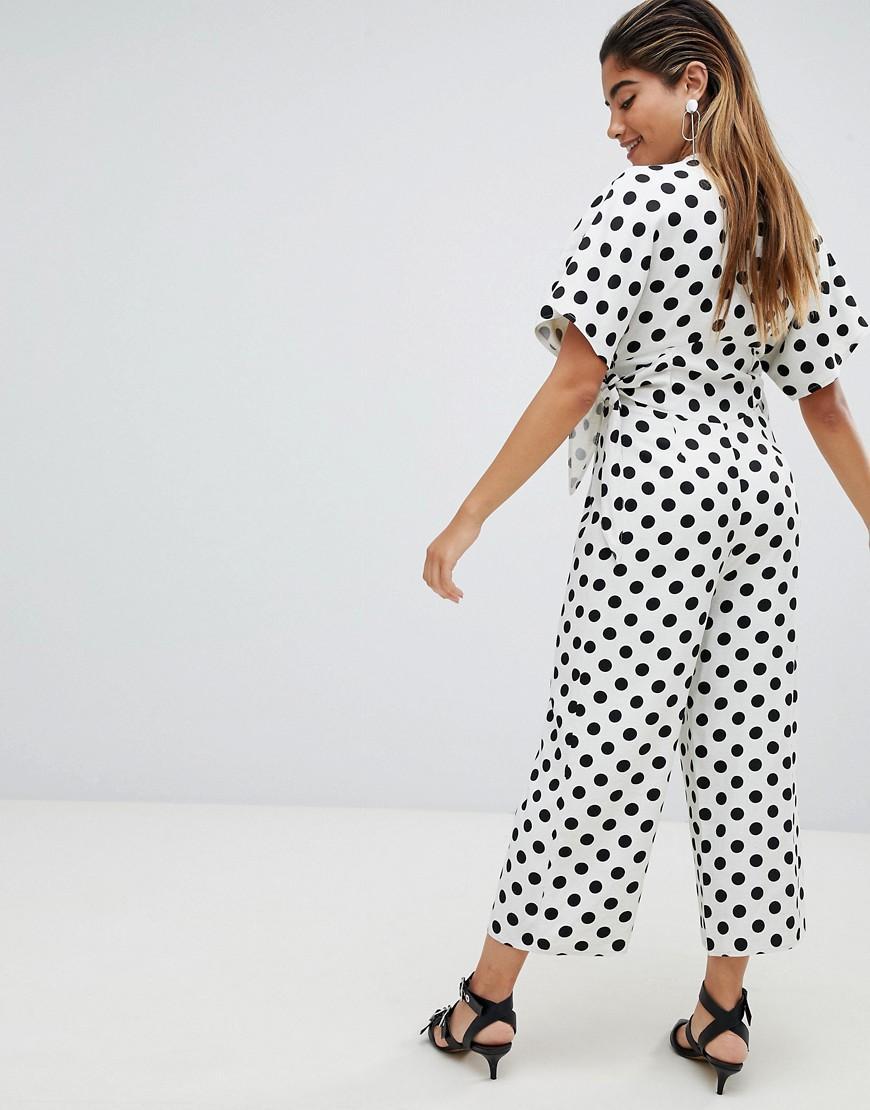 886f16ee336 Lyst - ASOS Spot Print Print Tea Jumpsuit In Linen Look With Side Tie Detail