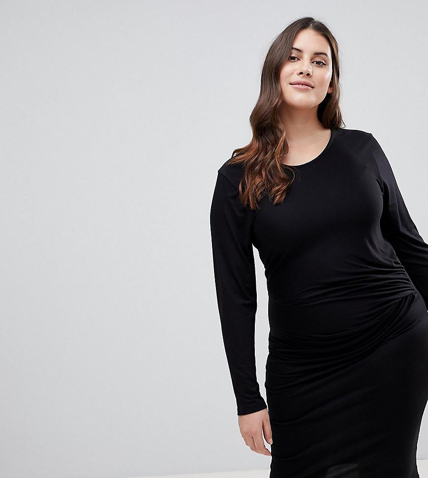 d24adea8bbc Lyst - Lipsy Bodycon Midi Dress With Knot Front Detail in Black