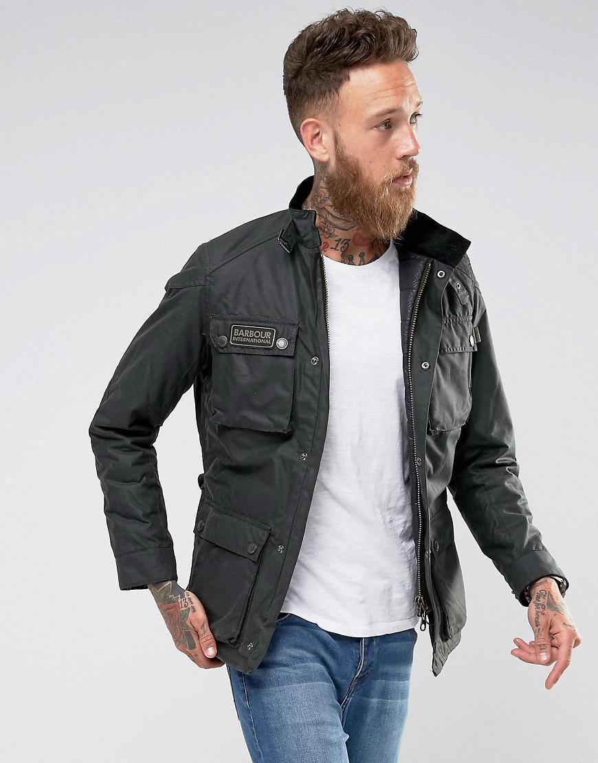 50e63b9809 Barbour International Slim Fit Blackwell Wax Jacket In Sage in Black ...